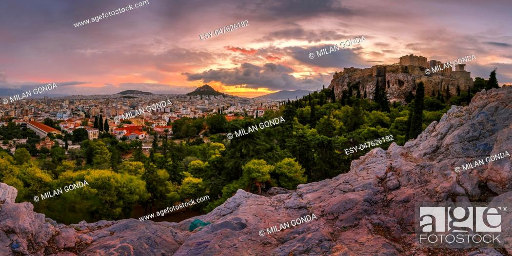 Stock Photo: Acropolis and panoramic view of the city of Athens, Greece. .