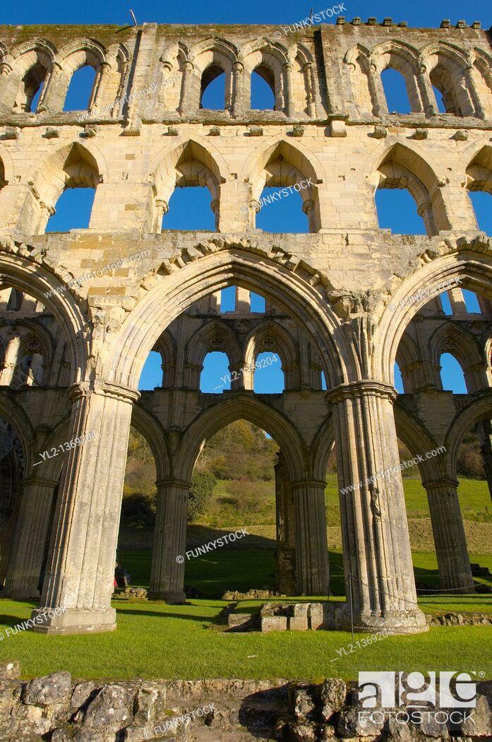 Stock Photo: Rievaulx abbey, North Yorks National Park, England.
