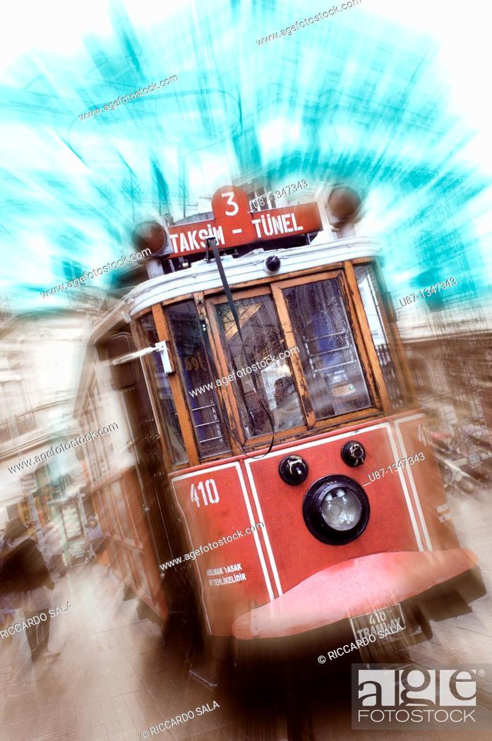 Stock Photo: Turkey, Istanbul, Taksim Tram.