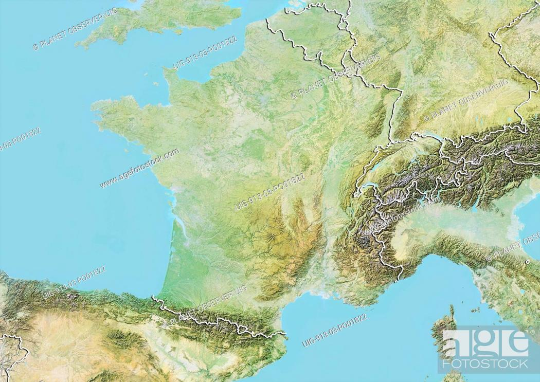 Map Of France And Switzerland Border.Relief Map Of France With Border Belgium And Luxemburg Are At North