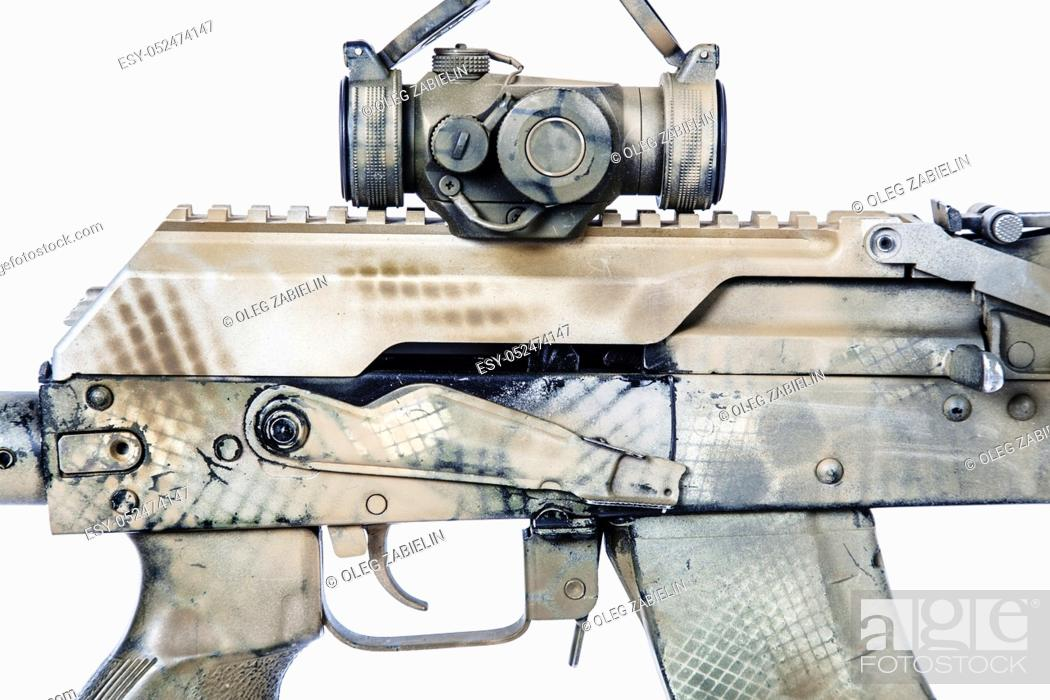 Stock Photo: Close-up shot of Kalashnikov rifle receiver cover with collimator, automatic weapons isolated on white background. Gun is painted desert camouflage.