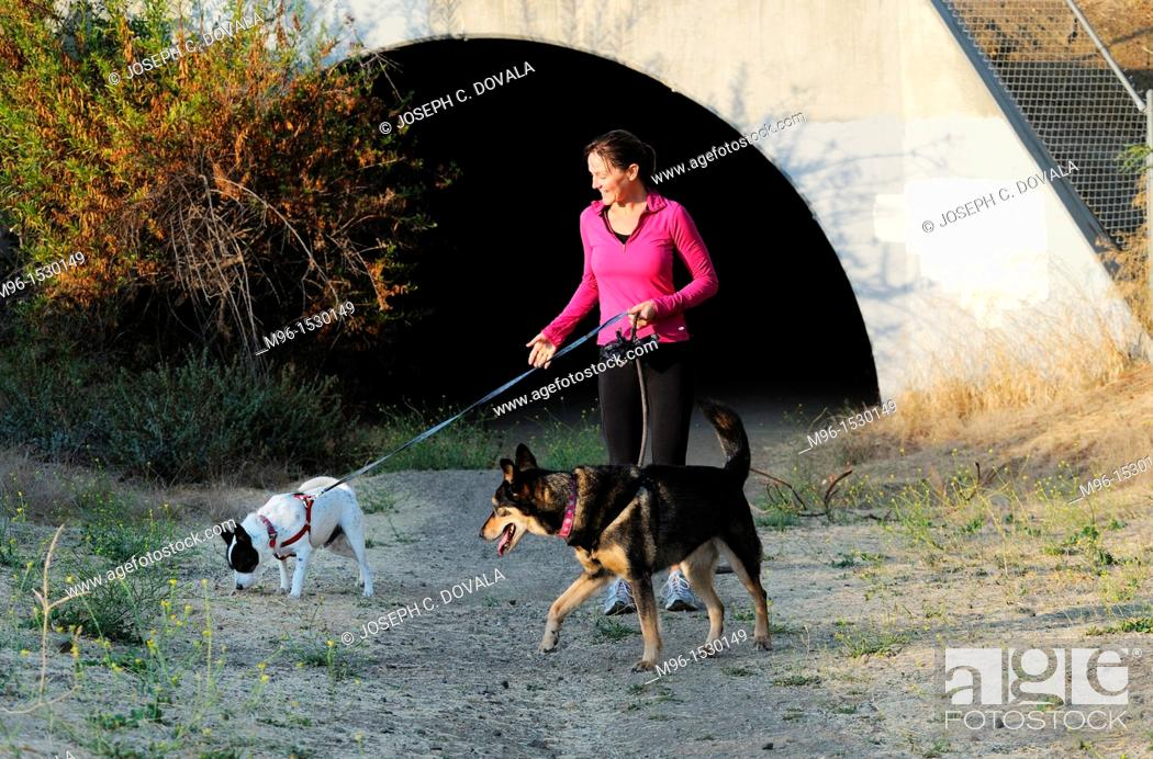 Stock Photo: Woman walking her dogs early morning in front of flood control tunnel, Thousand Oaks, California, USA.