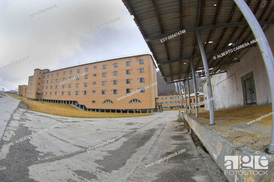 Stock Photo: Ancient Remains, Pyramiden, Soviet Ghost Town, Arctic Russian Old Settlement, Billefjord, Arctic, Spitsbergen, Svalbard, Norway, Europe.
