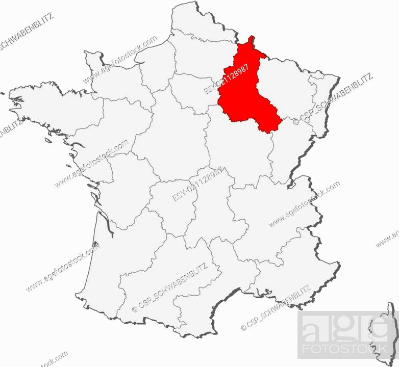 Map of France, Champagne-Ardenne highlighted, Stock Vector, Vector Champagne Ardenne Map on