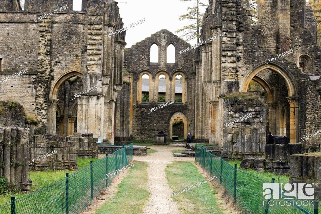 Stock Photo: Ruins at Orval Abbey in Villers-Devant-Orval, Belgium.