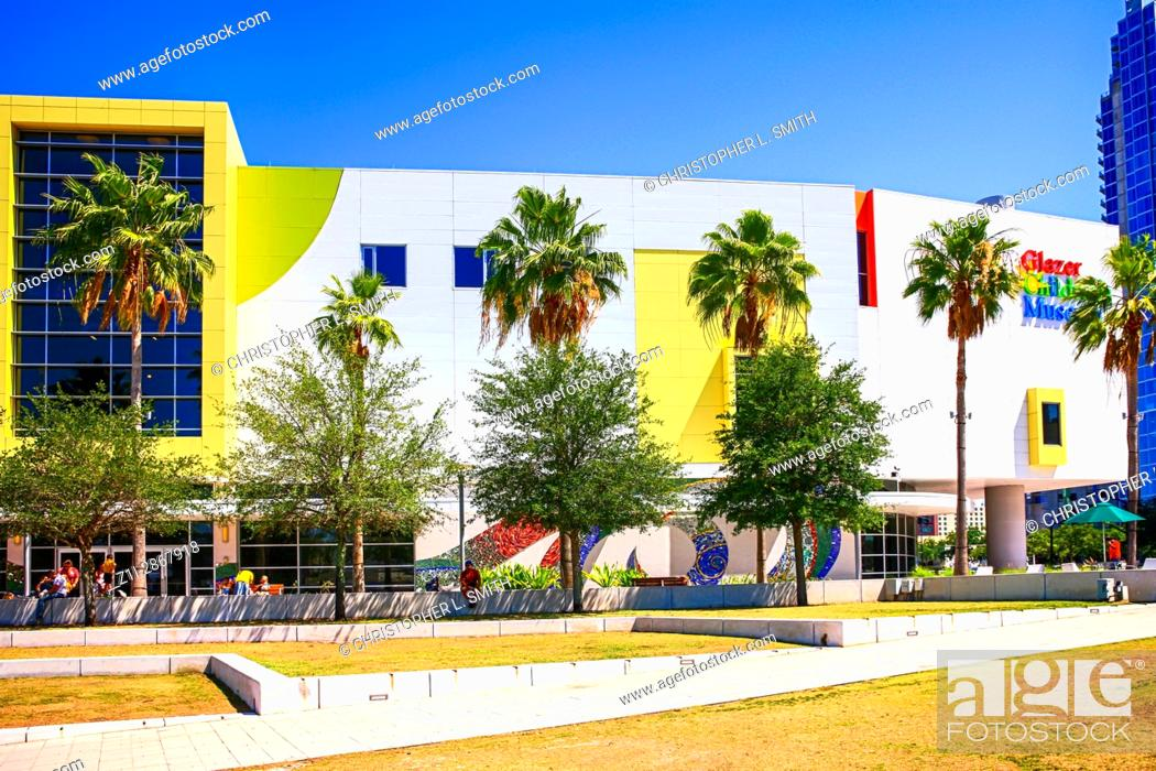 Stock Photo: People outisde the Glazer Children's Museum in Gasparilla Plaza downtown Tampa Florida.