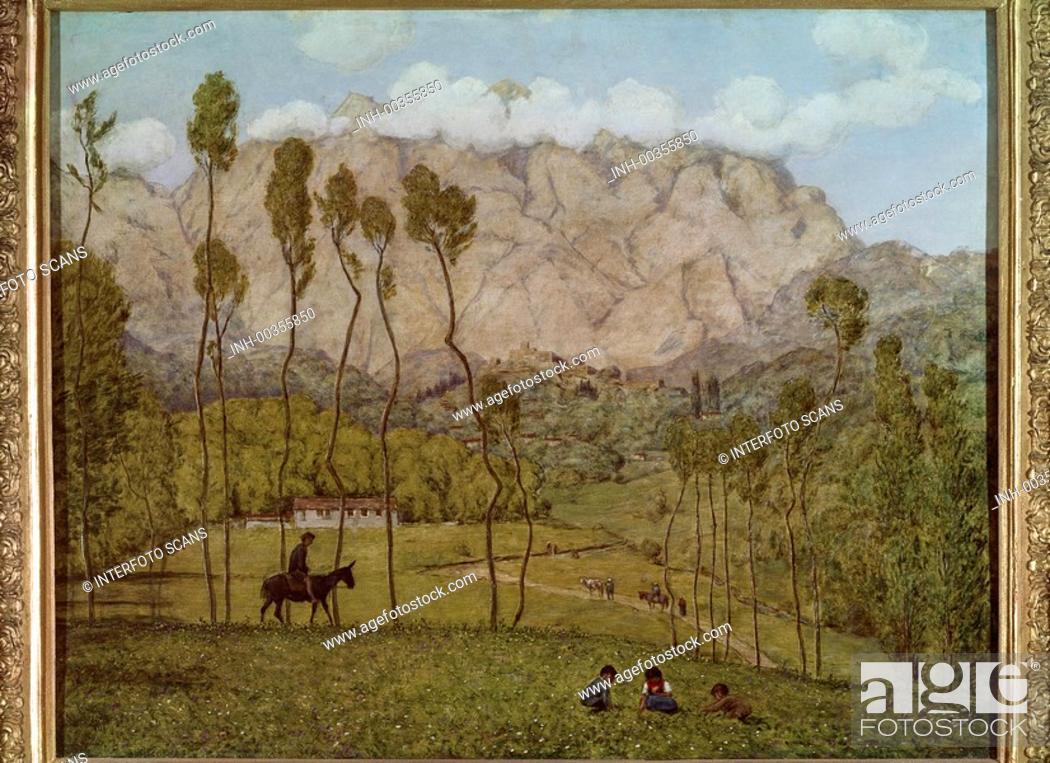 Stock Photo: Ü Kunst, Thoma, Hans 2.10.1839 - 7.11. 1924, Gemälde Landschaft bei Carrara ca. 1910, Neue Galerie, Linz 19. jh, reiter, menschen.