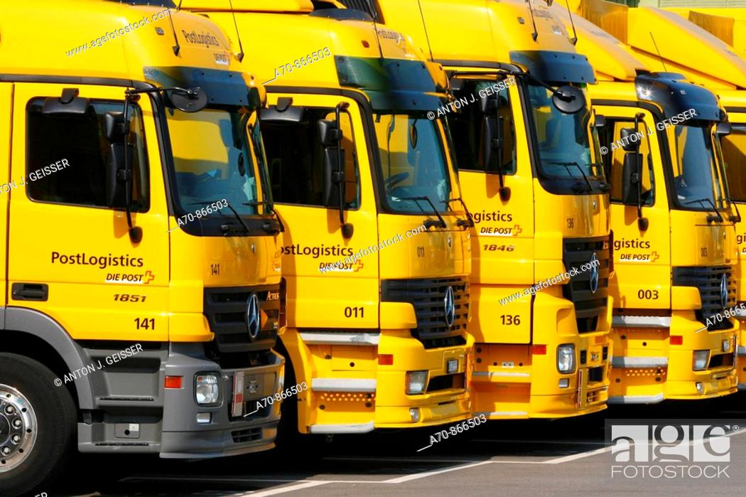 Stock Photo: Schweizerische Post (Swiss Post), Mercedes trucks.