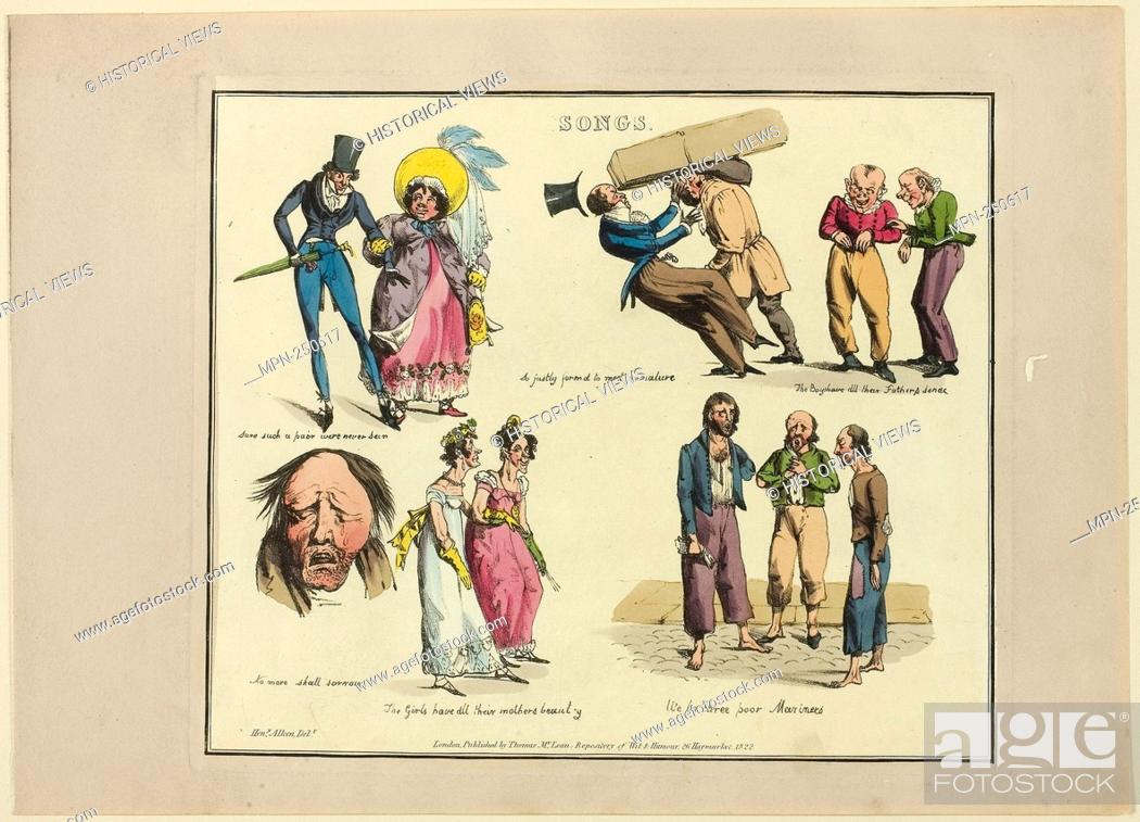 Stock Photo: Plate from Illustrations to Popular Songs - 1822 - Henry Alken (English, 1785-1851) published by Thomas McLean (English, active 1790-1860) - Artist: Henry Alken.