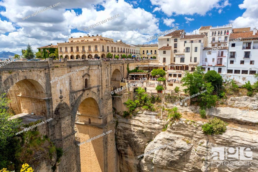 Stock Photo: The Puente Nuevo bridge over Guadalevín River in El Tajo gorge, Ronda, Malaga province, Andalusia, Spain, Europe.