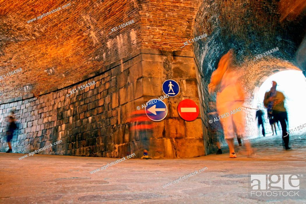 Stock Photo: tunnel, traffic signals, Montjuic Castle, Barcelona, Catalonia, Spain.