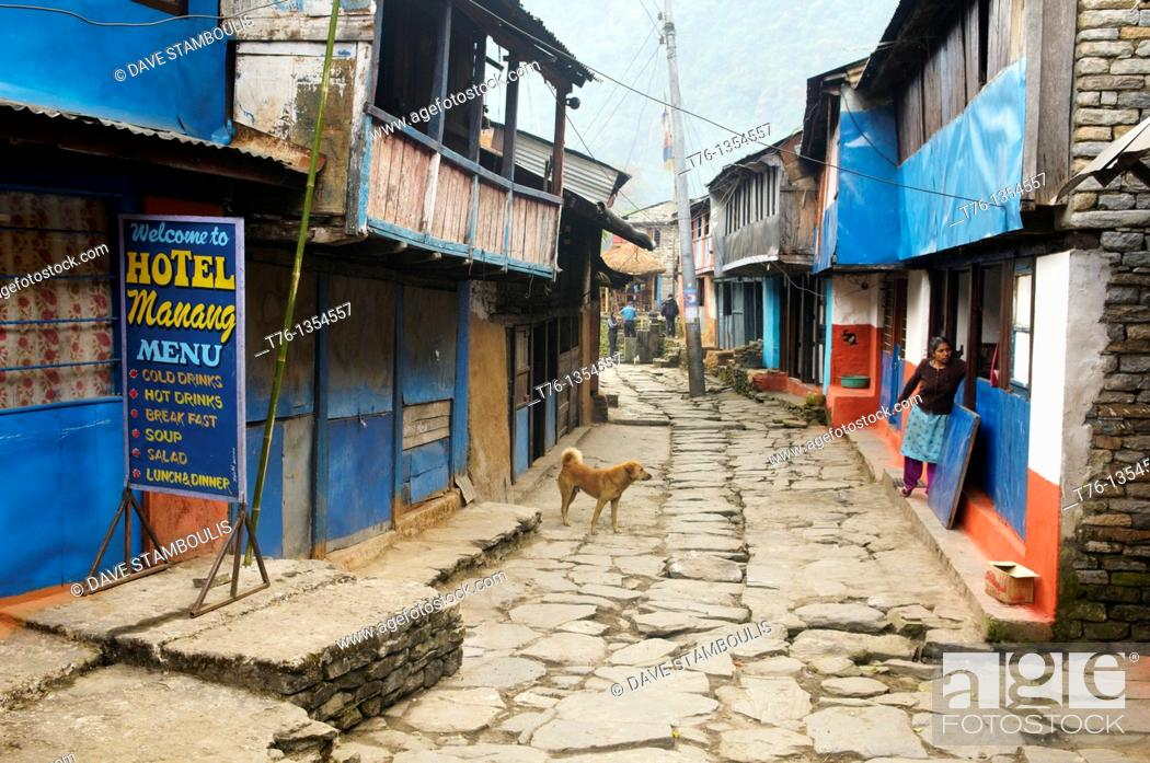 Stock Photo: the old village of Bulbule along the Marsyangi River in the Annapurna region of Nepal.