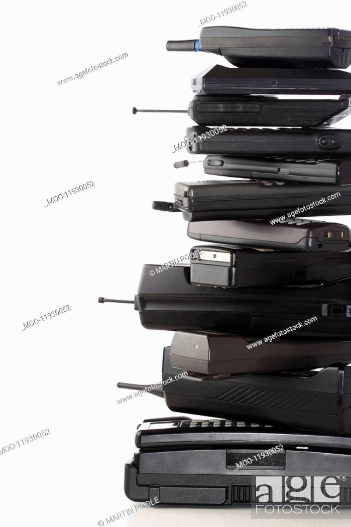 Stock Photo: Pile of wireless phones.