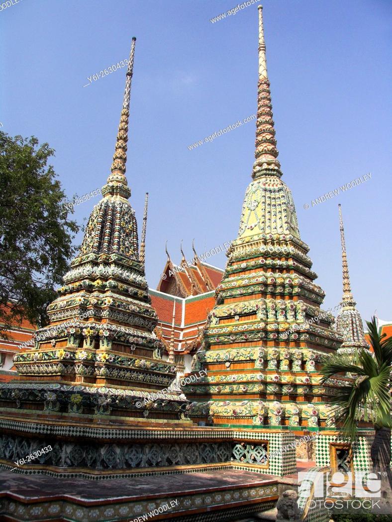 Stock Photo: Colourful mosaic stupas Wat Po Bangkok Thailand.