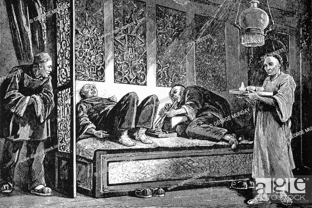 1879: Chinese Opium smokers in An opium Palace or Den, China Town