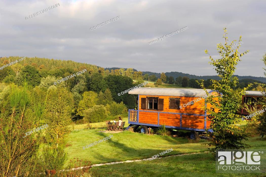 Stock Photo: Les Roulottes du Livradois, Cunhat, Livradois-Forez Regional Nature Park, Puy-de Dome department, Auvergne region, France, Europe.