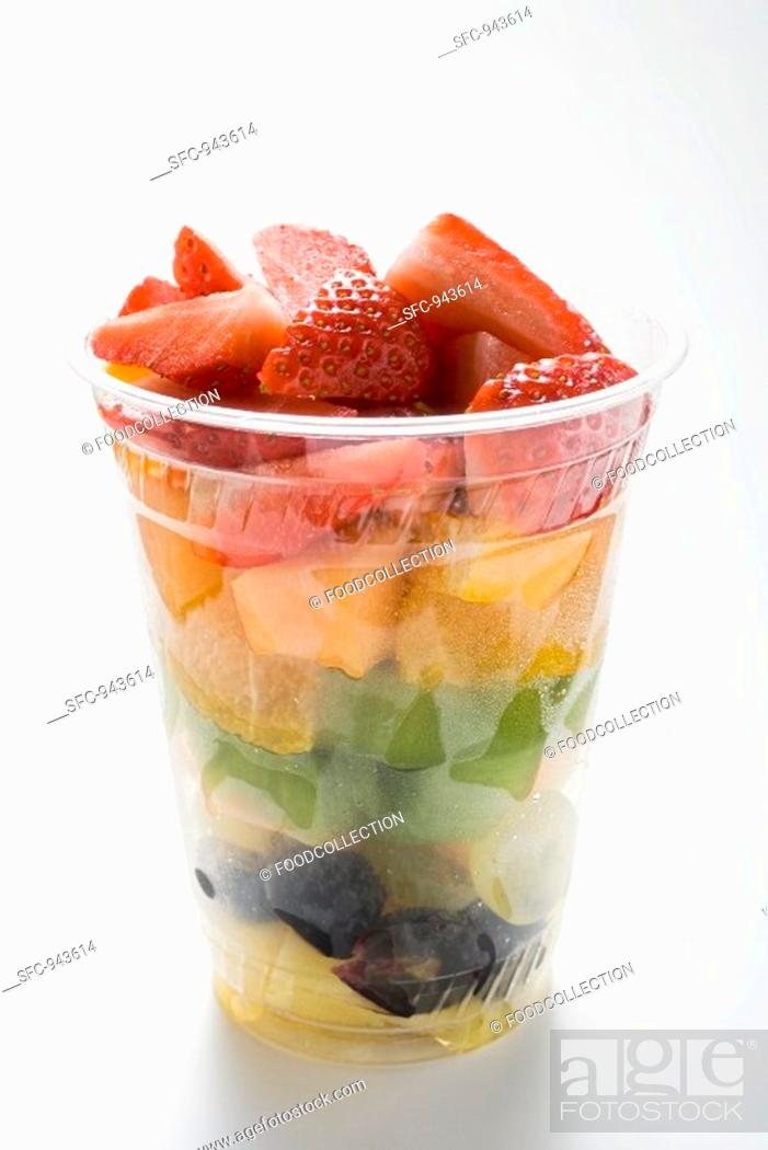 Stock Photo: Fruit salad in a plastic cup.