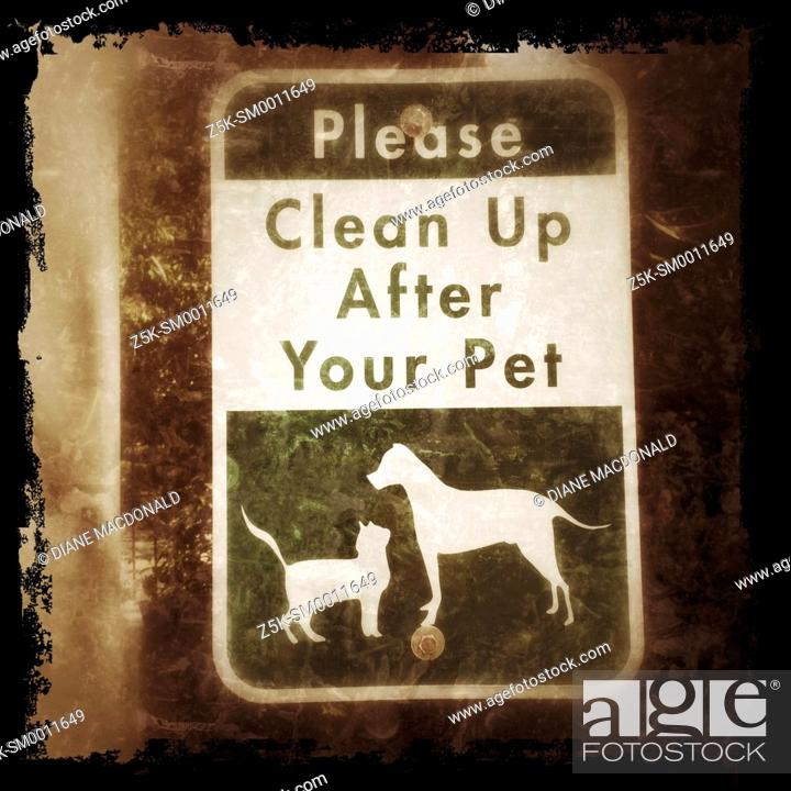Stock Photo: Informational sign about cleaning up after your pet.