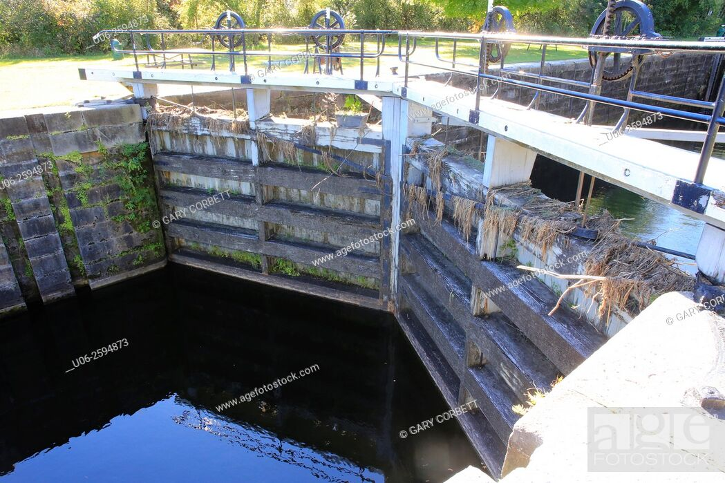 Stock Photo: A lock in the Rideau Canal in Smith Falls, Ontario, Canada.