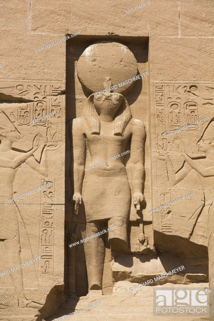 Stock Photo: Statue of the God Re Harakhte, Ramses II Temple, UNESCO World Heritage Site, Abu Simbel, Egypt.