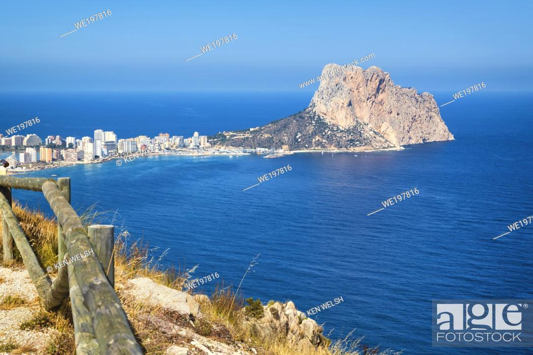 Stock Photo: Calp, or Calpe, Costa Blanca, Alicante Province, Spain. High view to the Penyal d'Ifac, or Peñón de Ifach.
