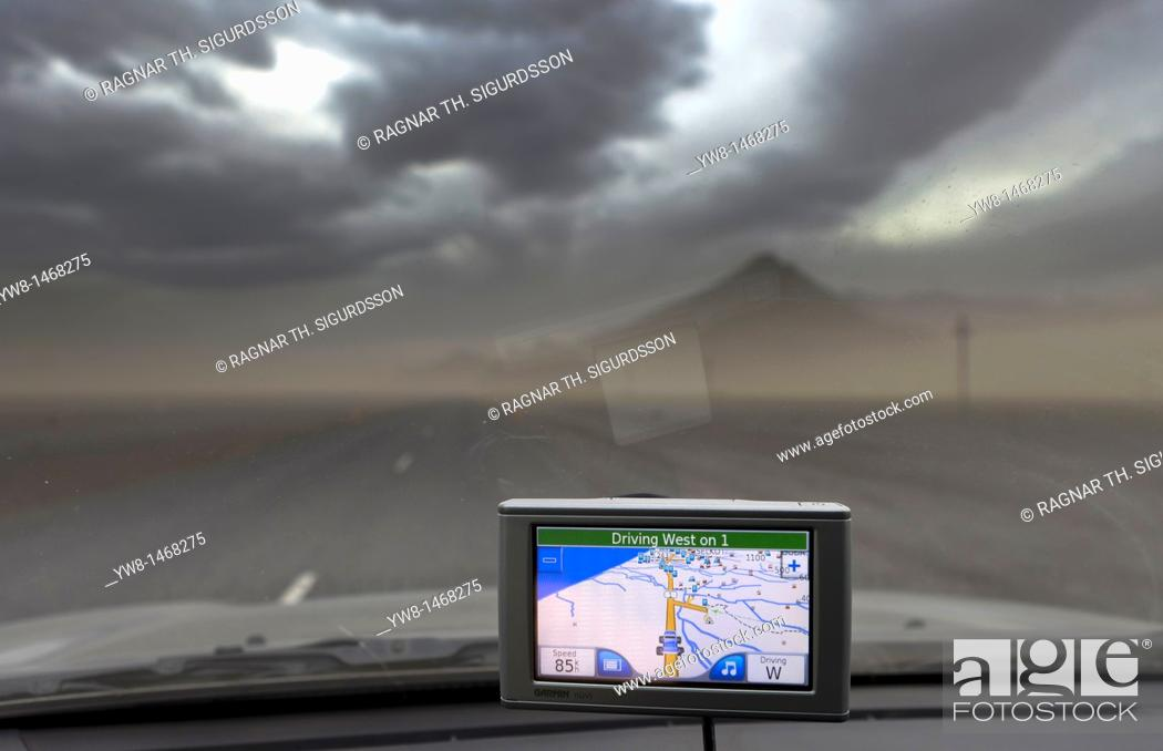 Stock Photo: Ash fall from Grimsvotn Volcanic Eruption in the Vatnajokull Glacier, Iceland  Using GPS while driving into the ash cloud   Driving into the ash cloud on Route.