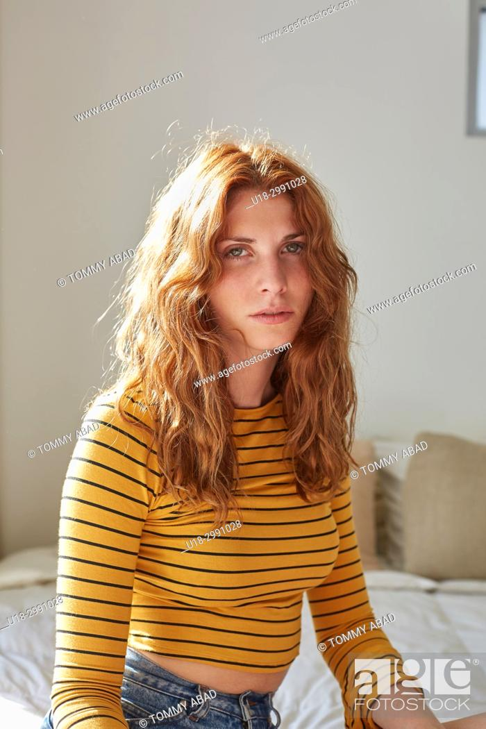 Stock Photo: Redhead with a Vintage look.