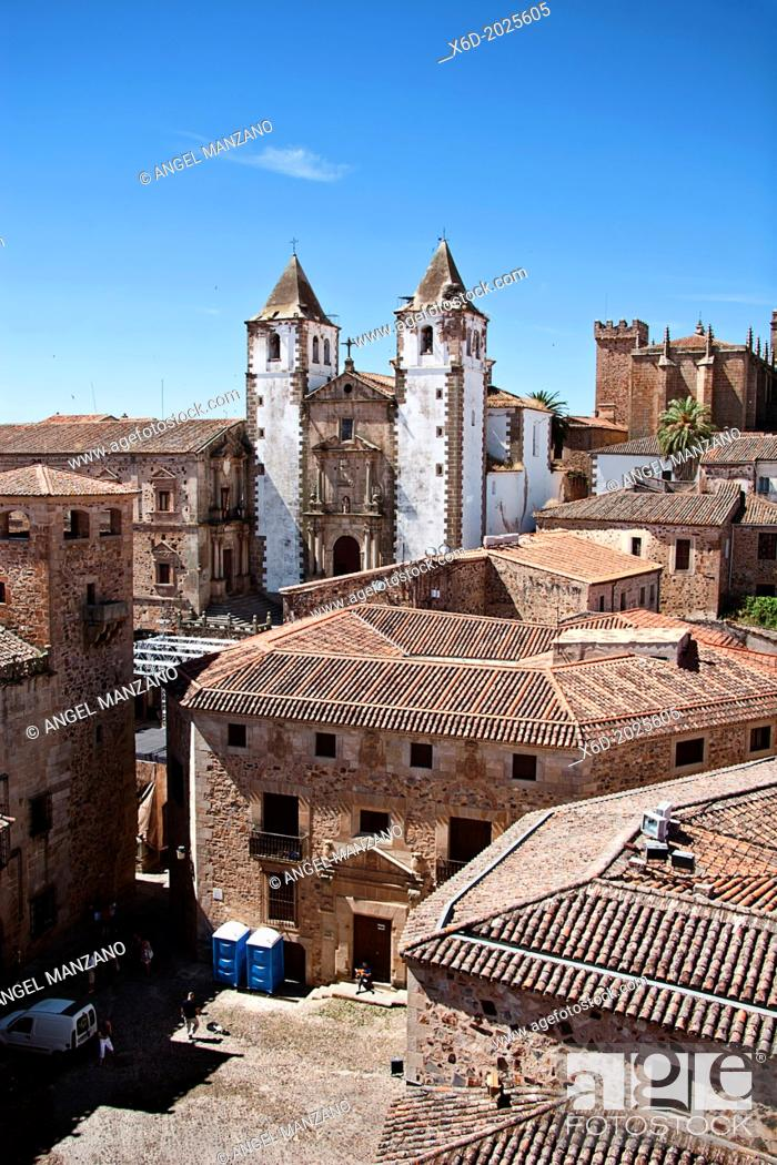 Stock Photo: Monumental town of Caceres; San Jorge and old town.