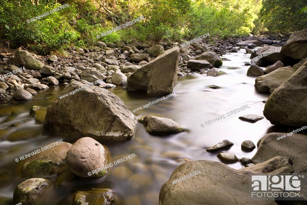 Stock Photo: Creek at Kepaniwai County Park, Iao Valley, Maui, Hawaii, USA.