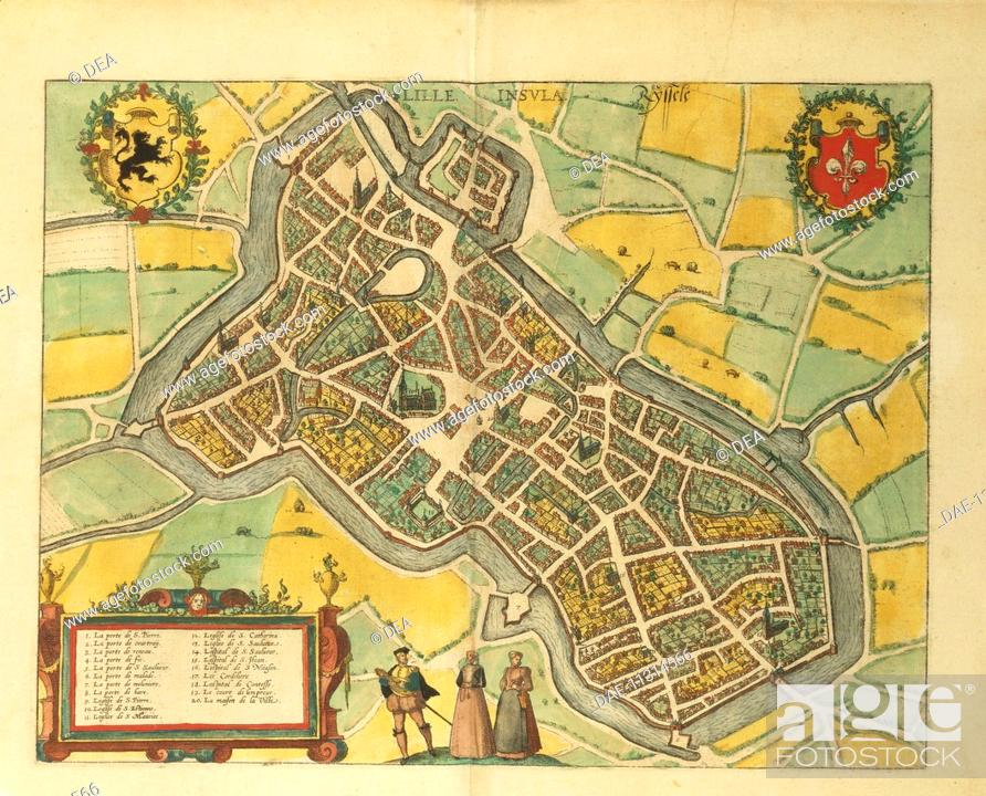 Cartography France 16th century Map of Lille From Civitates