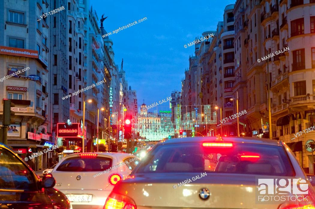Stock Photo: Traffic jam in Gran Vía Street at Christmas time, night view. Madrid, Spain.
