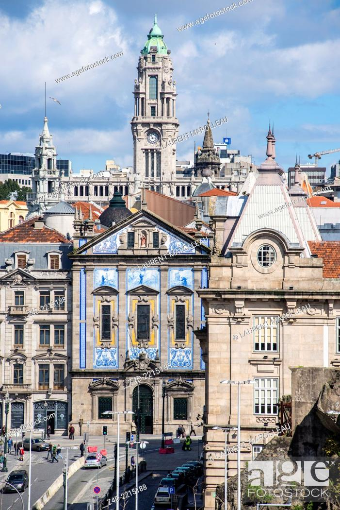 Stock Photo: Saint Anthony's Congregados Church and the tower of the Town hall. Porto, Douro Litoral Province, Portugal, Europe.