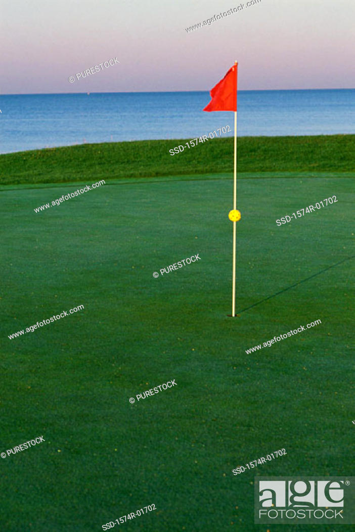 Stock Photo: Flag on a golf course.