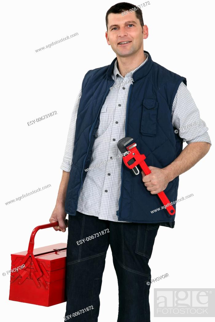 Stock Photo: Plumber equipped for any job.