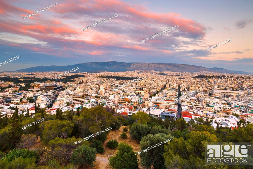 Stock Photo: Himettus mountain and view of Athens, Greece. .