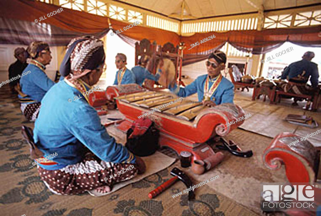 Stock Photo: Indonesia, Yogyakarta, Sekaten Festival, Gamelan players at Sultan's mosque (Mesjid Agung).