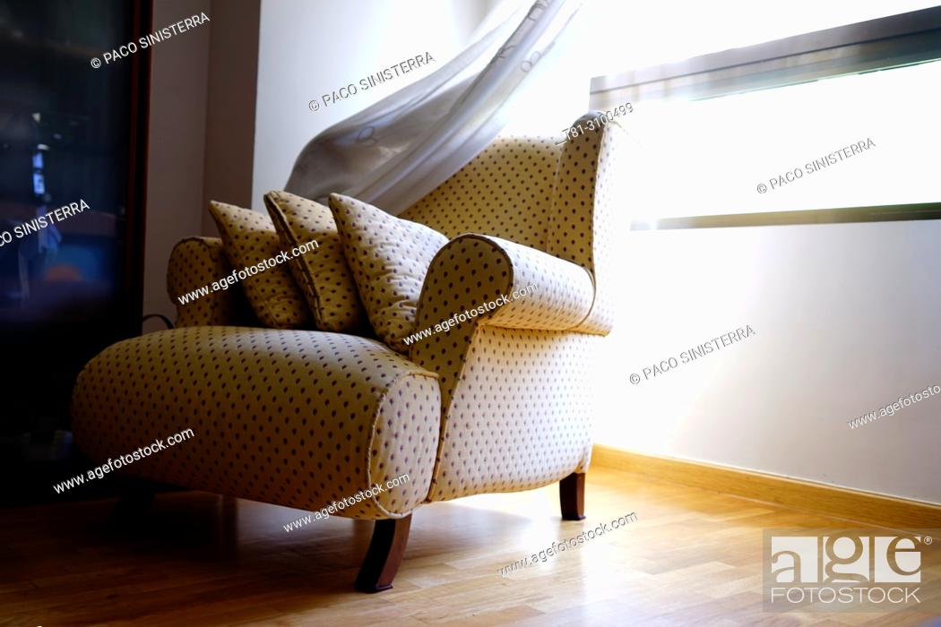 Stock Photo: sofa with window, Valencia, Spain.