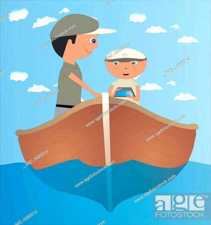 Stock Photo: A father and son using GPS on a boat.