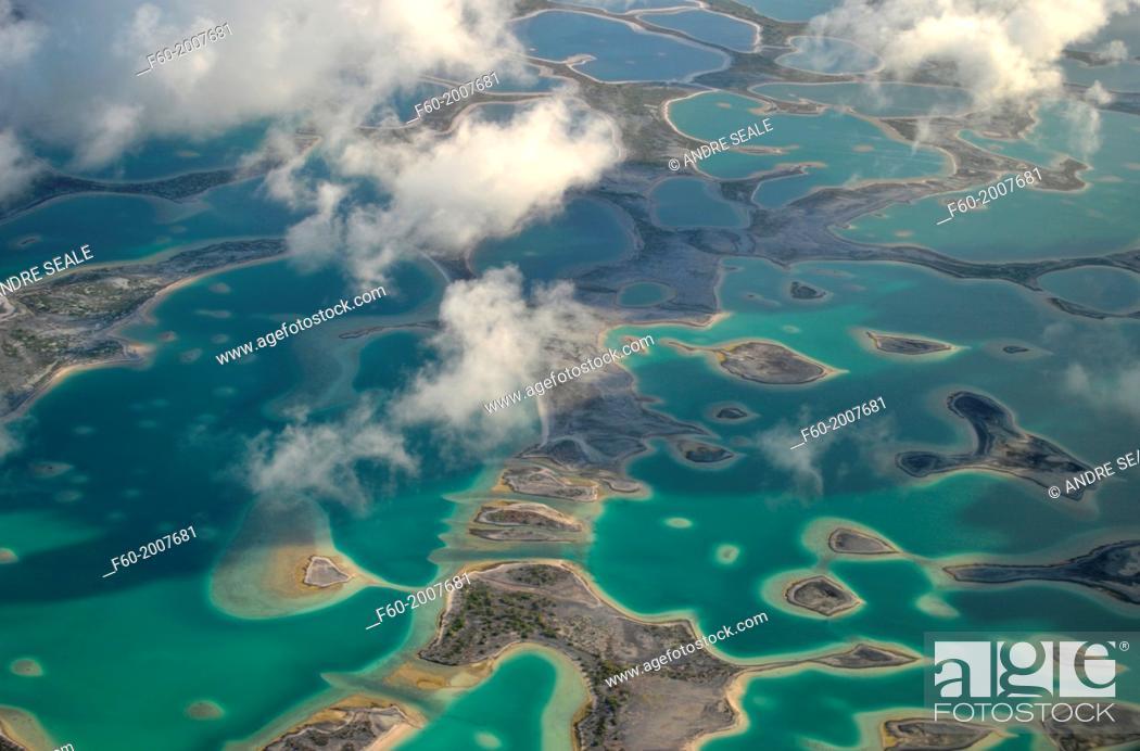Aerial view of hypersaline lakes in Christmas Island (Kiritimati ...
