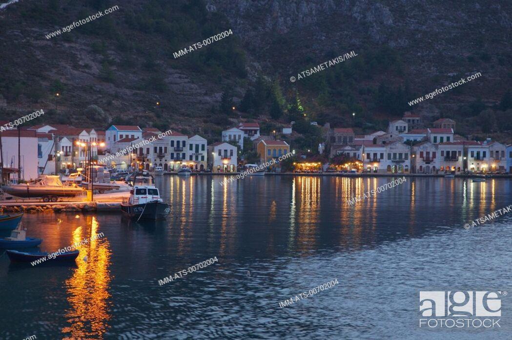 Stock Photo: Kastellorizo Town, port at night Kastellorizo, Dodecanese, Greece.