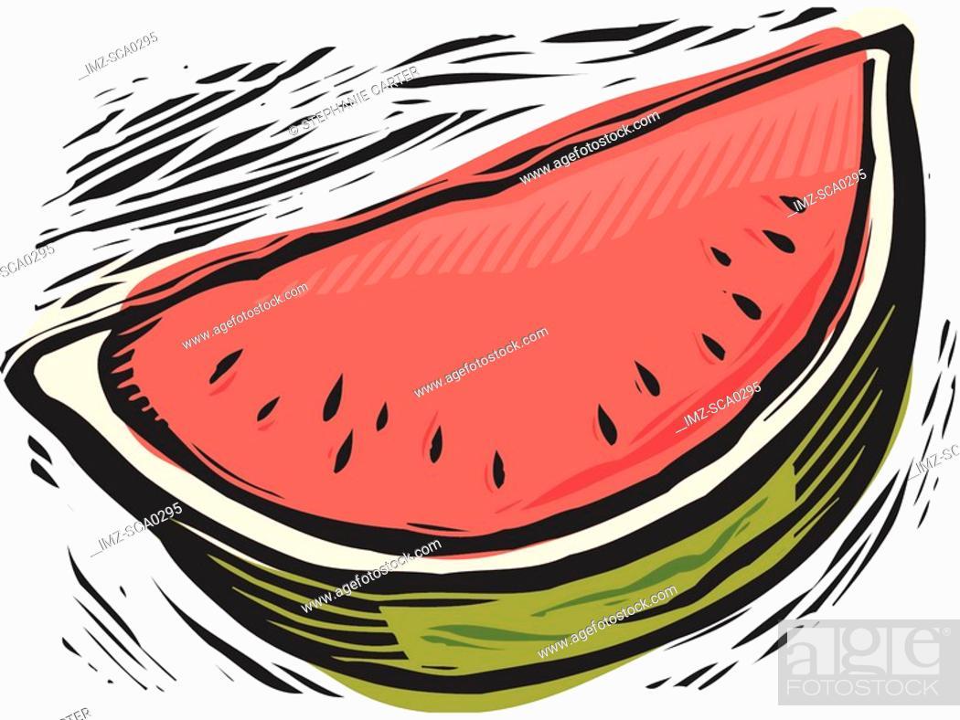 Stock Photo: fresh watermelon slice.
