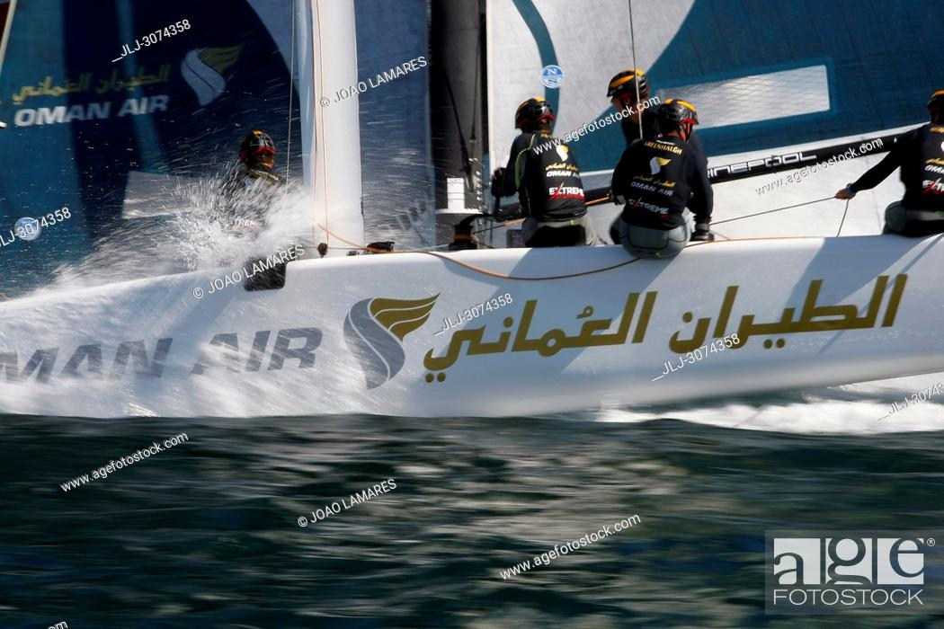 Stock Photo: Sailing: Team Omanair 2018 with Phil Robertson as a skippers. Extremesailing round 4 at Baia de Cascais, Cascais, Portugal.