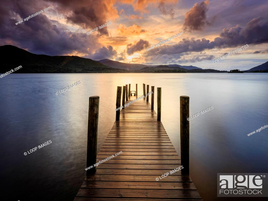 Stock Photo: Sunset over Ashness Gate landing stage on Derwent Water.