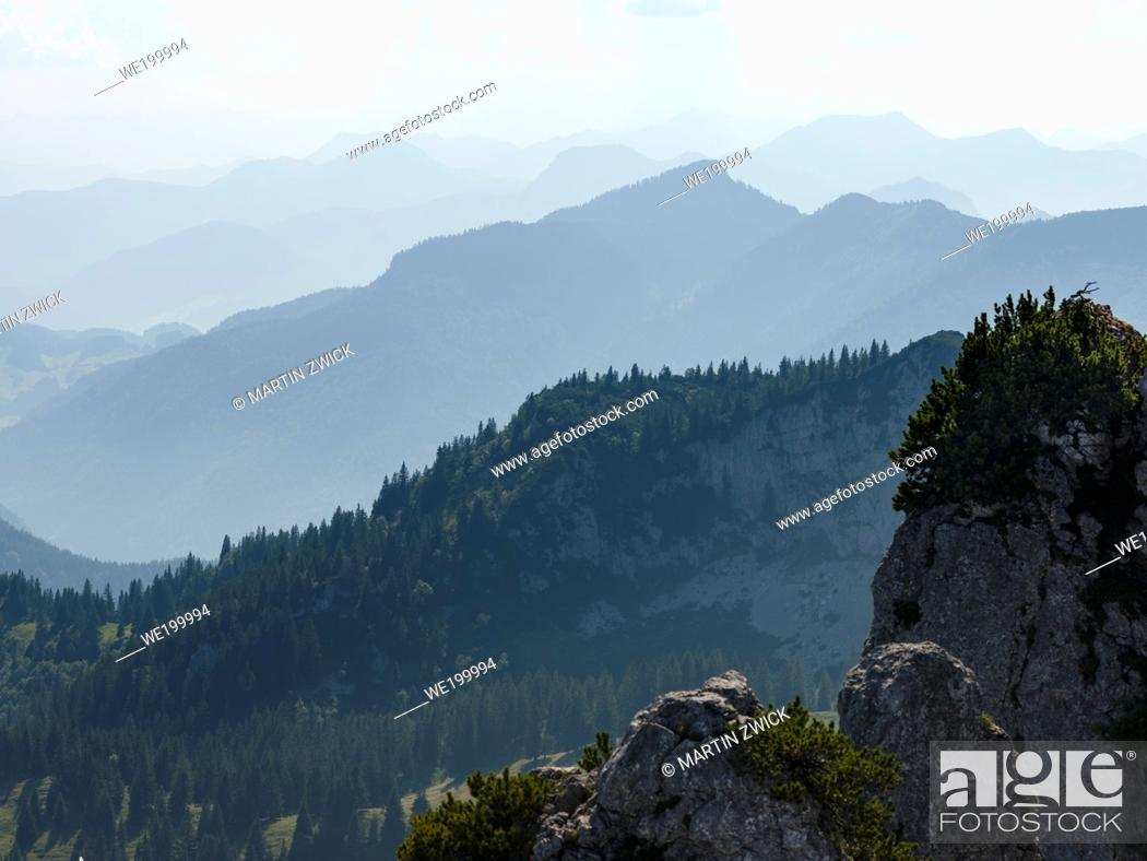 Photo de stock: View over the mountains of the Chiemgau Alps in upper bavaria. Europe, Germany, Bavaria.