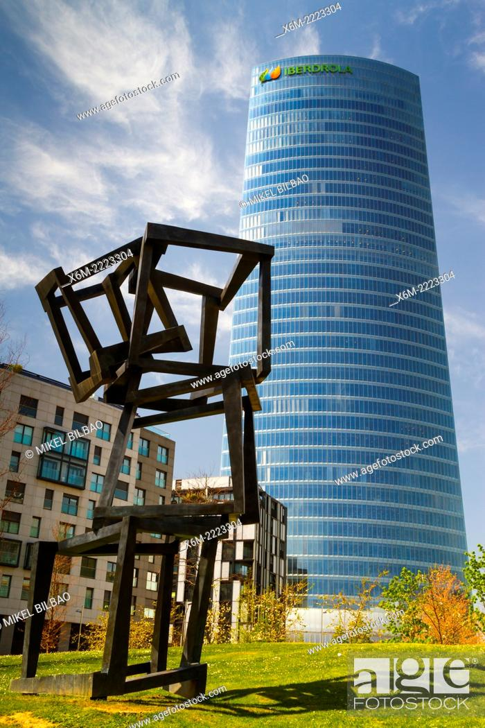 """Stock Photo: Iberdrola Tower and """"""""Chaos Nervion"""""""" sculpture. Bilbao, Biscay, Basque Country, Spain, Europe."""