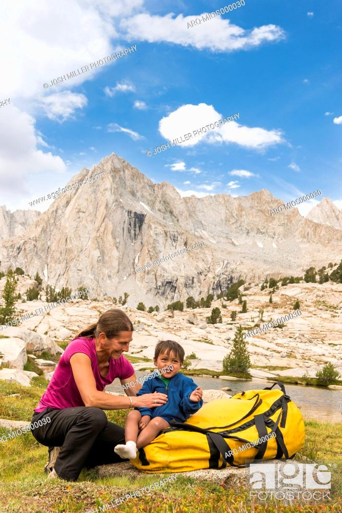 Stock Photo: Mom and Son playing below Picture Peak, High Sierra.