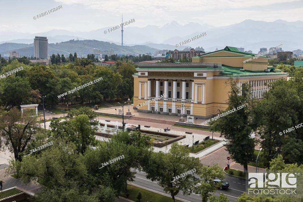 Stock Photo: Almaty, Kazakhstan - August 9, 2019: Kazakh Opera and Ballet Theater in Almaty.