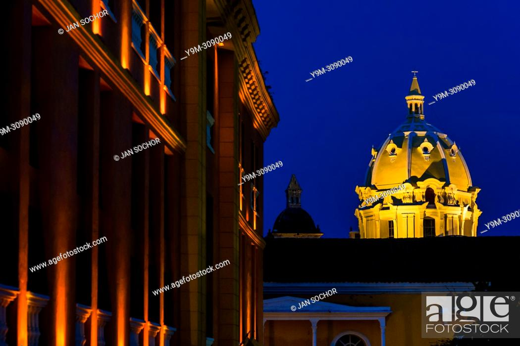 Stock Photo: The cupola of Iglesia de San Pedro Claver (the San Pedro Claver Church) is seen enlightened during the twilight in Cartagena, Colombia, 15 April 2018.