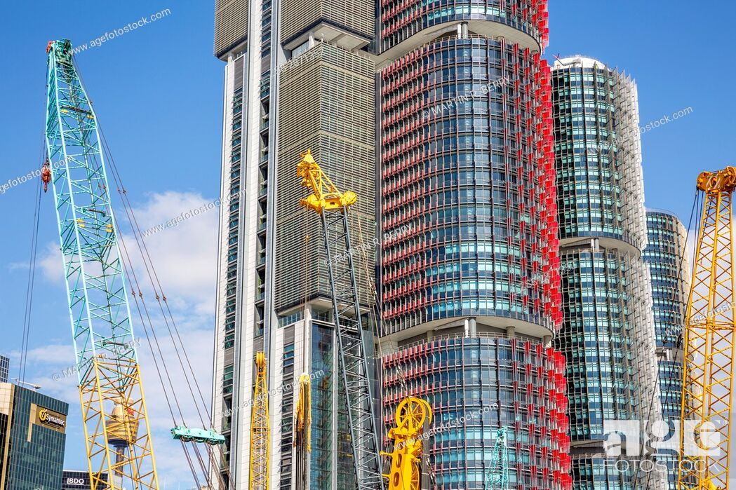 Stock Photo: Barangaroo in Sydney city centre with high rise skyscraper towers, Sydney, Australia.