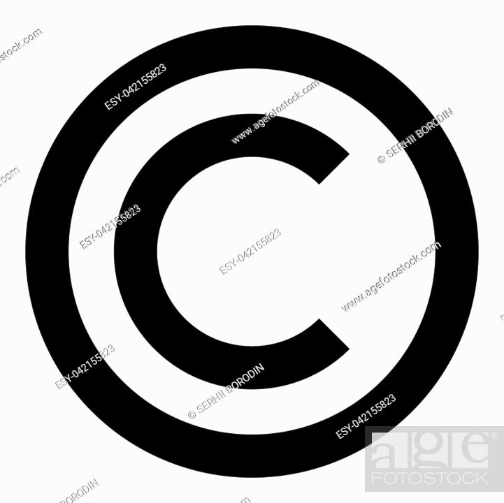 Stock Vector: Copyright symbol icon black color vector illustration flat style simple image.